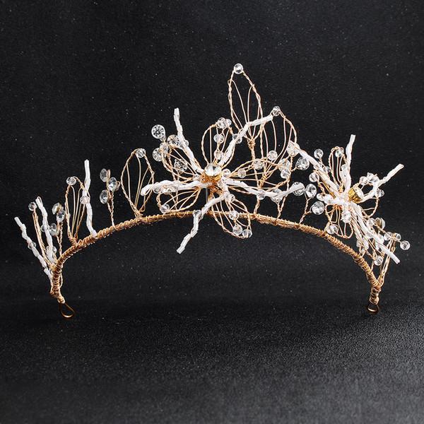 Gelin Saç Aksesuarları Prenses Taç Alın Takı 40 Altın Metal Çiçekler Özel Hairwear Boncuklu Kafa