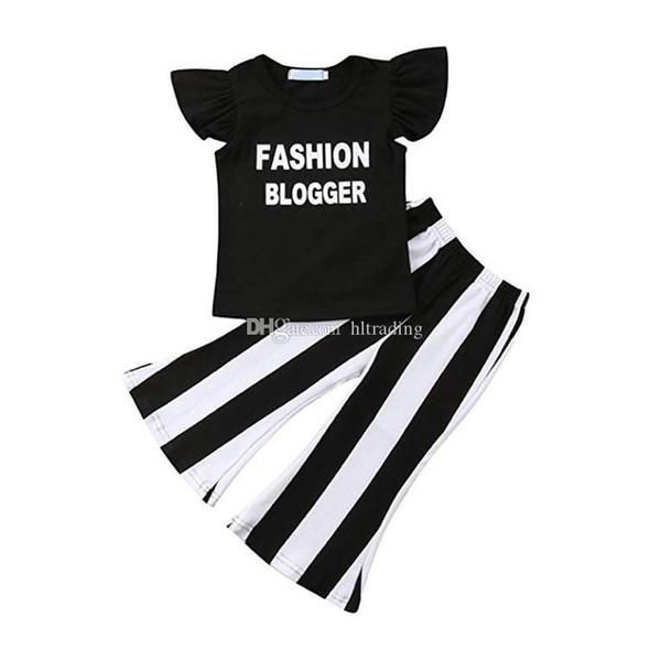 Ropa de diseñador para niños trajes para niñas niños volando manga volantes carta tops + pantalones Flare a rayas 2 unids / set Ropa de bebé verano Conjuntos C6753