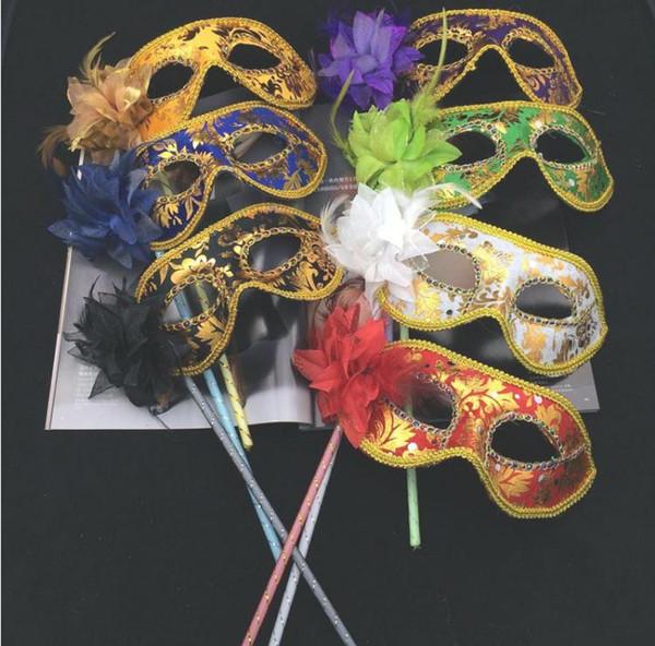 Máscara de flor de penas de máscaras venezianas no bastão Mardi Gras Costume impressão Dia Das Bruxas Carnaval Hand Held Partido vara maskSN1683