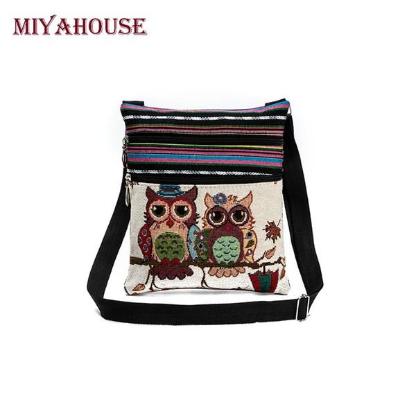 Miyahouse Hot Sale Cartoon Owl Print Messenger Bags Canvas Female Shoulder Bags Double Zipper Women Mini Flap Shoulder Handbags