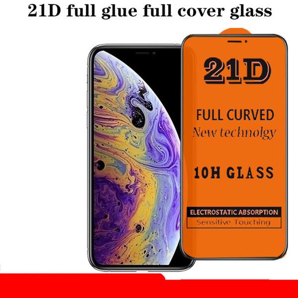 21d 10 h tam tutkal kapak kavisli şeffaf şeffaf temperli cam filmi ekran koruyucu güvenlik için iphone 11 pro max xs xr 8 7 6 artı anti-damla