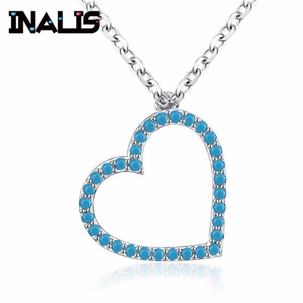 INALIS simples coração romântico forma 925 colar de prata esterlina Micro Pavimentada azul preto CZ coração de cristal pingente de menina jóias