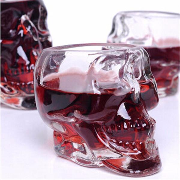 크리스탈 해골 헤드 보드카 와인 샷 유리 마시는 컵 80 미리리터 해골 해적 진공 맥주 유리 잔