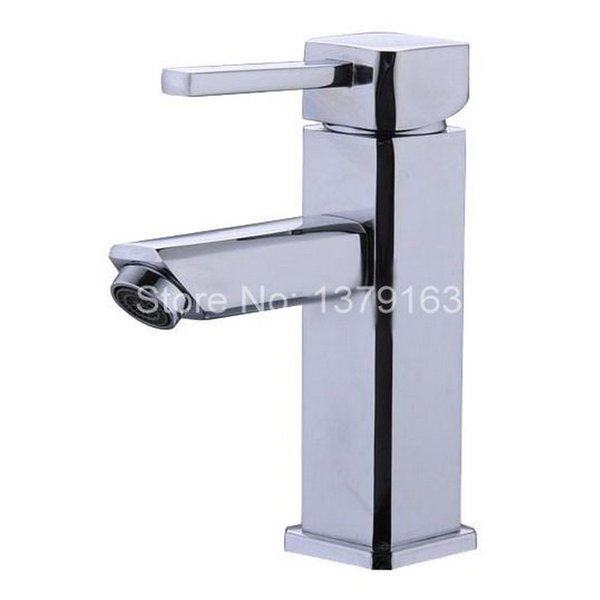 Polished Chrome Brass Single Lever Handle Bathroom Vessel Sink Basin Faucet Mixer Taps anf053