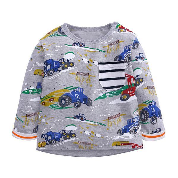 fashion cartoon mini car pattern tops high quality tops for children cool sweatshirts camisas hombre manga larga 4no30