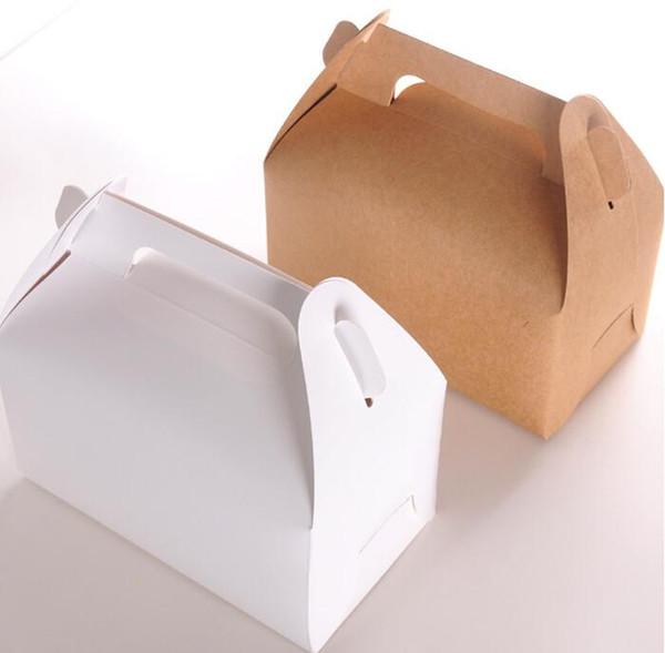 15pcs/lot Wholesale Kraft paper Cake Box with handle,brown cup cake box with handle,wedding paper cardboard white