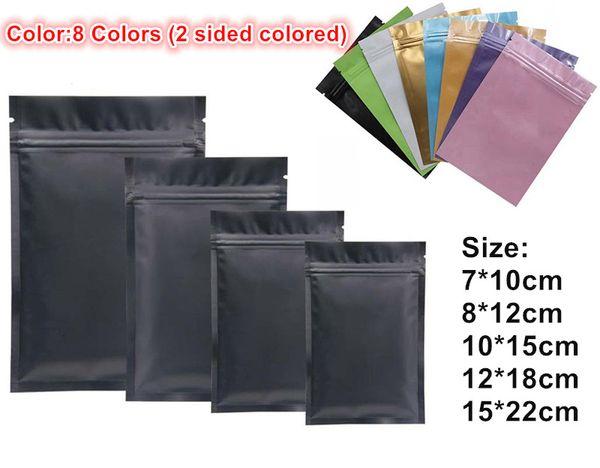 Le plus récent en plastique noir sacs de papier d'aluminium mylar Sac à glissière pour le stockage alimentaire à long terme et objets de collection protection 8 couleurs deux côté coloré