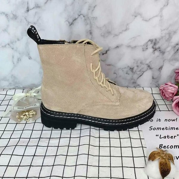 2019 spring fall Designer Luxury Fashion womens Nude BEIGE BLACK Nubuck SUEDE REAL LEATHER chunky FLAT Platform Rubber sole LACE UP BOOTS