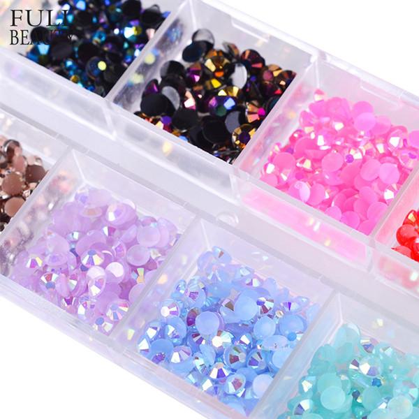 12 Color/Box 3mm Crystal Colorful Jelly Rhinestones 3D Nail Art Decor Glitter Gems Stones Manicure DIY Flatback Beads CH128-EF D18120801