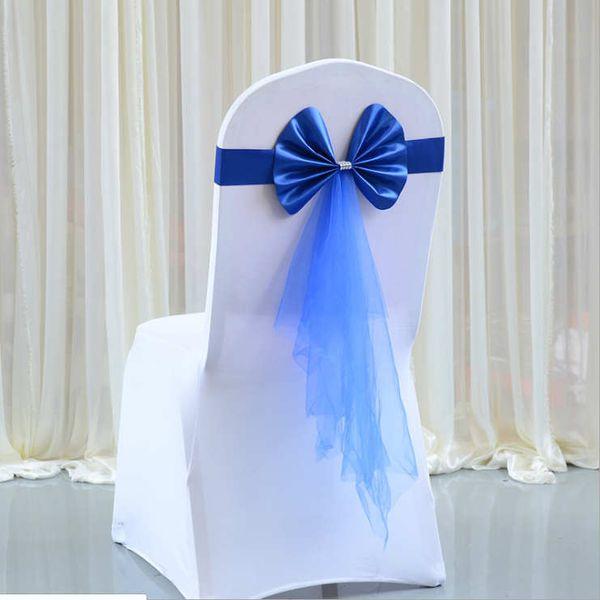 10pcs/lot Tulle Sash Ribbon Bow Ornament Elastic Wedding Chair Cover Sashes Sash Party Banquet Decoration Decor Bow Colors