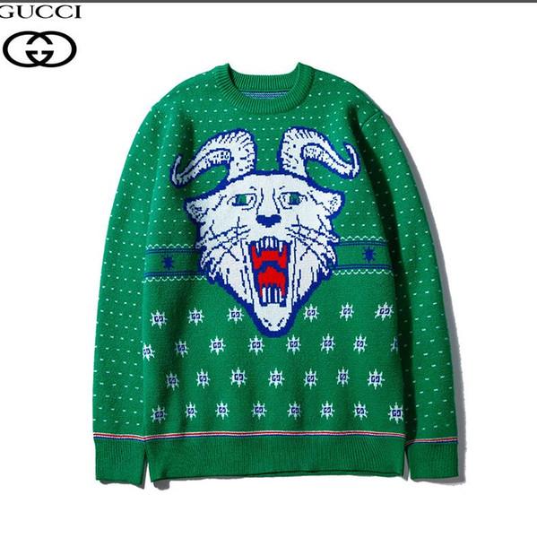 19 nuovo maglione jacquard di lavoro a maglia di lana verde testa corno di montone tigre stelle con consegna gratuita