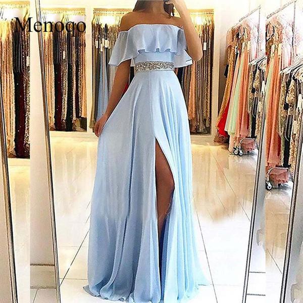 Bustier Sexy Bleu Clair Robes De Soirée Longues 2019 Mousseline De Soie de L'epaule A-line Robe De Bal Femmes Robes De Soirée Robe De Soirée