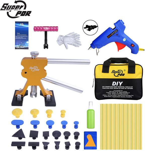 Hot PDR Dent Pullers Ventosa Pegamento Pegas Kit de herramientas de eliminación de abolladuras sin pintura para el coche Pegamento adhesivo caliente Palos para pistolas