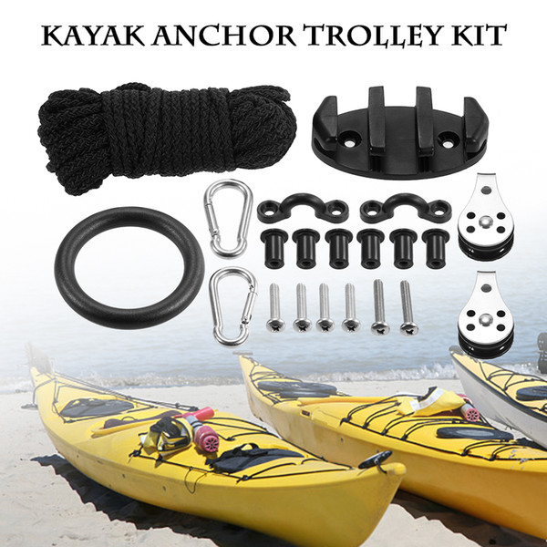 2019 21 In 1 Diy Kayak Anchor Trolley Kit Set Nylon 9 1m Security Rope 89 45 23mm Cleat Pad Eyes 30mm 25mm Screws 2 Pulleys From Bluelike 30 75