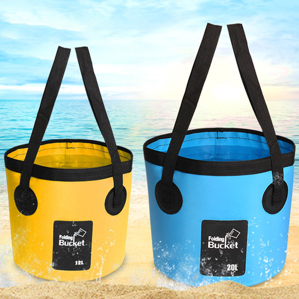 best selling 12L 20L Water Storage Washing Bag Travel Folding Bucket Portable Carrier With Carry Belts Hike Outdoor Camping Fishing Container