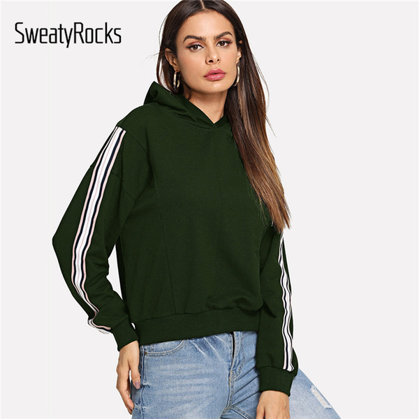SweatyRocks Army Green Striped Sleeve Hoodies Manches Longues Casual Automne Preppy Tops 2018 Femmes Vêtements De Sport Pulls Molletonnés