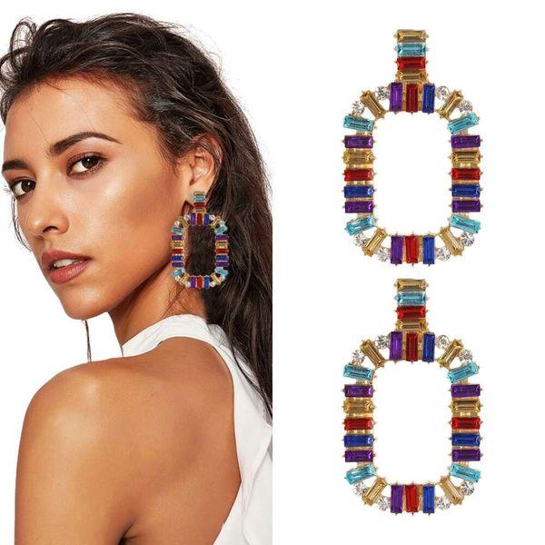 Renkli elmas dangle küpe kadınlar için batı sıcak satış moda kız kristal avize küpe tatil tarzı takı