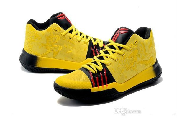 Top Quality Mens Irving 3 Casual Shoes MM Bruce Lee Kobe Yellow Mamba Mentality Classic Kyrobe Yellow/Black Outdoor Sneakers 40-46