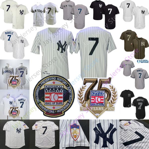 Mickey Mantle Jersey 1951 New York Cooperstown Yankees Salón de la Fama Hombres Mujeres Crema joven A rayas Hogar lejos MN
