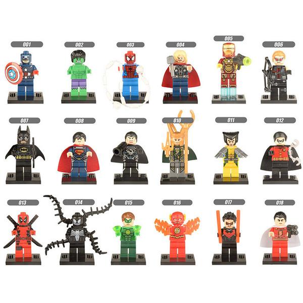 18pcs Super Hero Avengers Batman Captain America Wolverine Iron Man Loki Venom Superman Thor Deadpool Hulk Mini Toy Figure Building Block