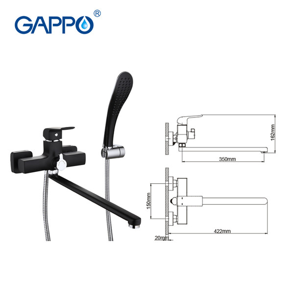 Gappo murale à long bec robinet de la baignoire avec douche à main tête salle de bain pluie mélangeur robinet douche robinets robinets