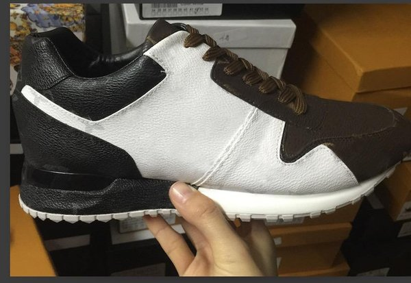 leather Black / White / brown flower