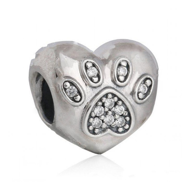 NEW I Love My Pets Charms Bead Authentic 925 Sterling Silver Footprint Heart Beads For Jewelry Making DIY Brand Bracelets Accessories