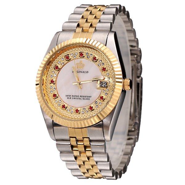 Оригинальный новый 2018 REGINALD кварцевые часы мужчины желтое золото 18 карат рифленый