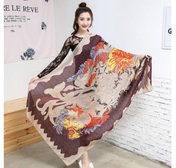 with tags Fashion Brand Silk scarf for Women 2018 Designer High Quality Hemming Long Scarves Shawls 180x90Cm Shawls