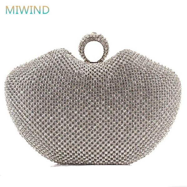 Super Completa Diamante Sacos de Embreagem Noite Coração Forma Anel de Dedo Strass Jantar Partido Bag / Bolsa de Ouro / Prata / Preto EB17