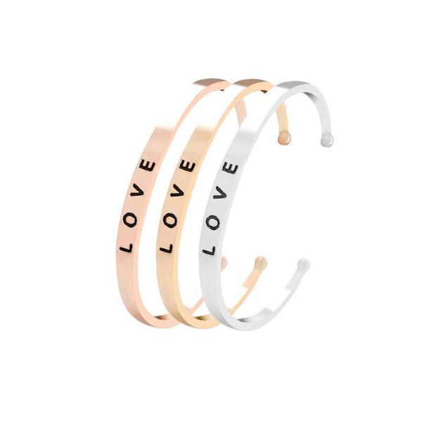Fashion Open Cuff Bangle Love Open Wrist Bracelet Alloy Jewelry For Women CB