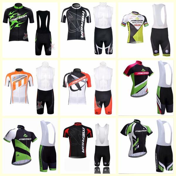 2019 neue MERIDA Team Radfahren mit kurzen Ärmeln Trikot Trägerhose Sets MTB Bike Bekleidung MTB Maillot Ciclismo Outdoor Sportswear 122403F