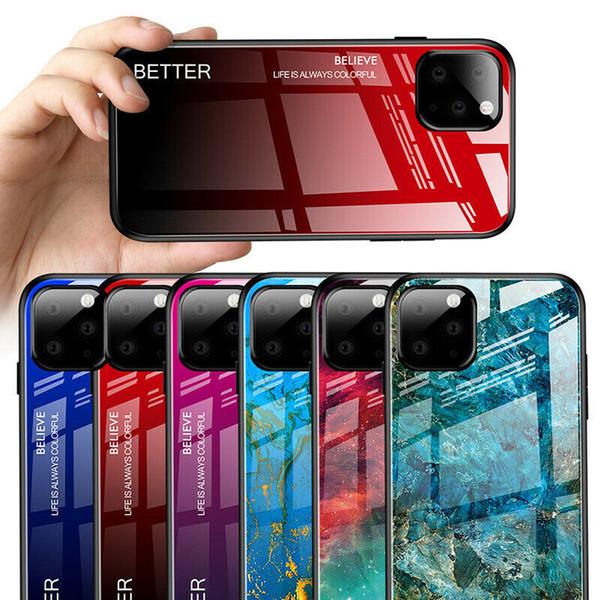 Marmo caso di pendenza di colore vetro per iPhone 11 11Pro 8 X XR XS Max cover lucida per per Huawei P30 P20 COVER PRO