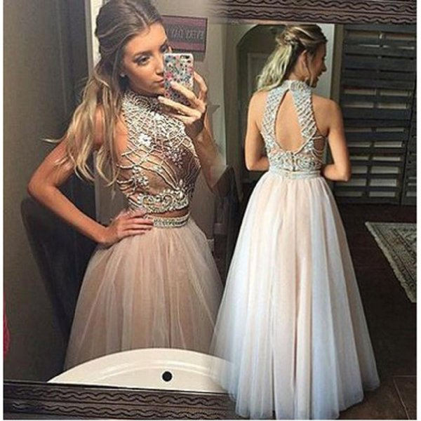 Champagne Two Pieces Prom Dresses 2019 Luxury Beading Tulle Evening Gowns For Women Graduation Dress Party Gowns