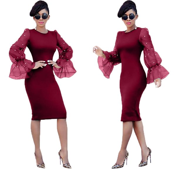 Women Sheer Long Sleeve Dresses Pearl Sexy Night Club Skirts Mini Dresses Plus Size S-2XL Short Skirts Pure Color Summer Clothes