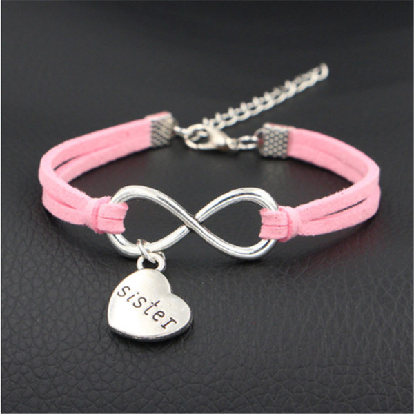 2019 New Pink Leather Suede Rope Cuff Bracelets for Women Men Personality Silver Metal Infinity Love Sister Heart Pendant Jewelry Party Gift