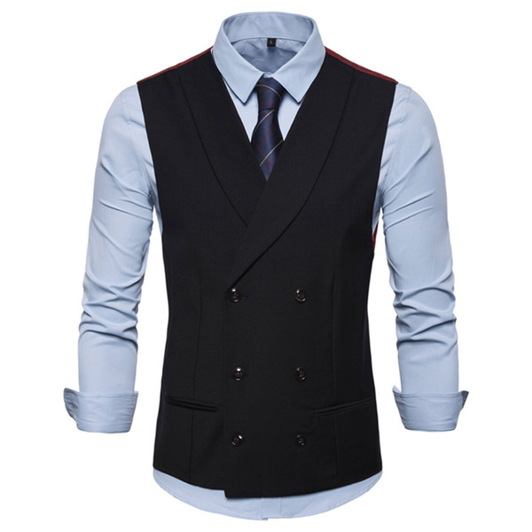 Vest Waistcoat Men Smart Casual 2019 New Men's Casual Shawl Collar British Style Double-breasted Waistcoat