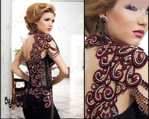 2019 Nouvelle Arabe Noir Rouge Longue Sirène Robes De Bal Perles Cristaux Haut Col Sweetheart Dentelle Robes De Soirée Formelles robes de soirée