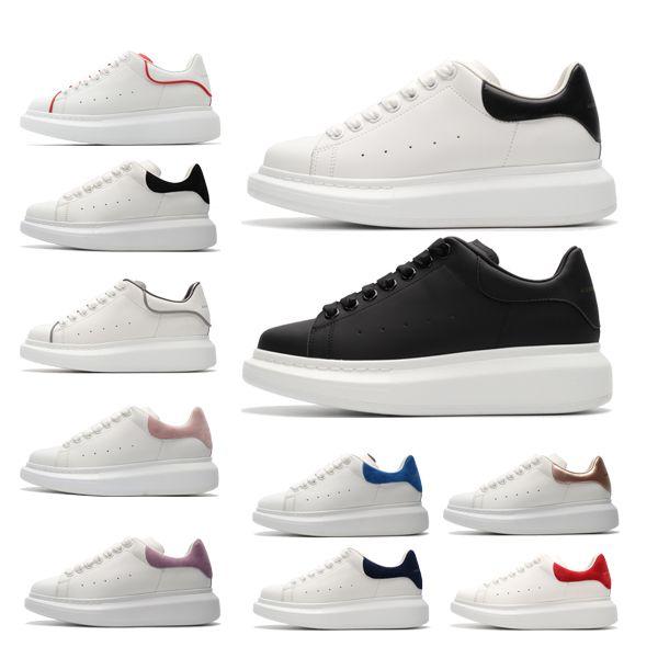 С Box черных женщин людей Chaussures платформы кроссовкиАлександрMcQueens роскошь дизайнеры кожаные однотонные цвета, ботинки платья