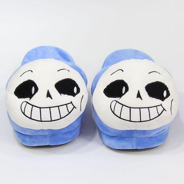 Winter Indoor Undertale Sans Slippers Flat Furry Home Cartoon Women emoji Plush Slippers unisex Couple Animal Warm Non-slip Shoes LE385-U