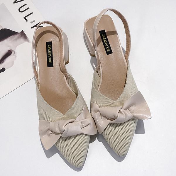 Moxxy mulas mujeres tacón bajo dedo del pie puntiagudo bowknot zapatillas zapatos cómodos zapatos femeninos ocasionales mujer flock mujer 2019 primavera