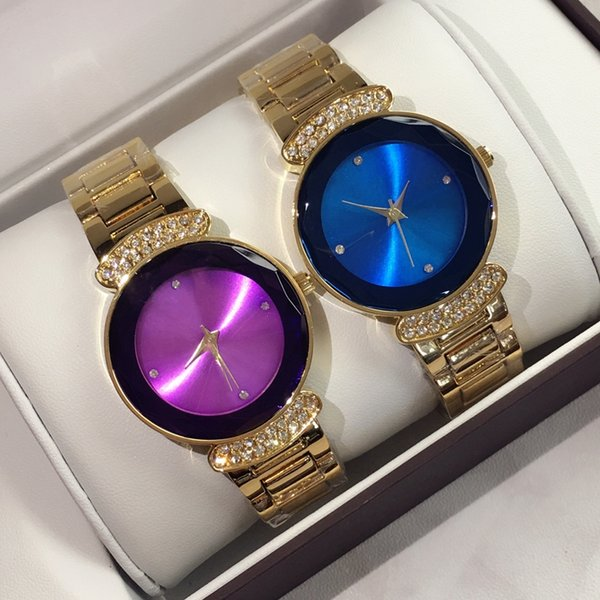 2019 mode damenuhren mit diamant gold lila blau luxus frauen uhr goldene edelstahl armband armbanduhren marke weibliche uhr