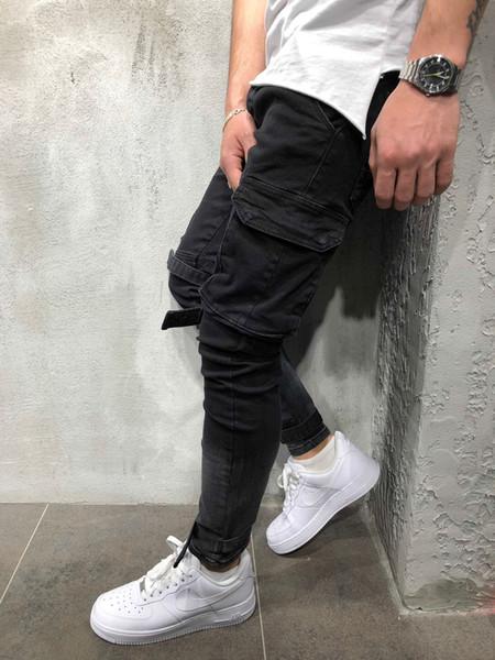 Fall and Winter New Men's Jeans Style Denim Black Large Pocket Leisure Bottom Bottom Trousers for Men pants
