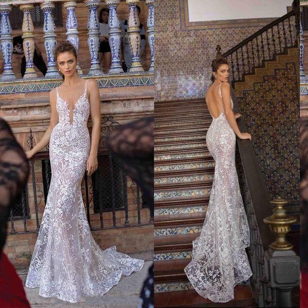 2019 Berta Volle Spitze Meerjungfrau Brautkleider Sexy Tiefer V-Ausschnitt Backless Illusion Mieder Hochzeit Brautkleider Mode Neue Brautkleider