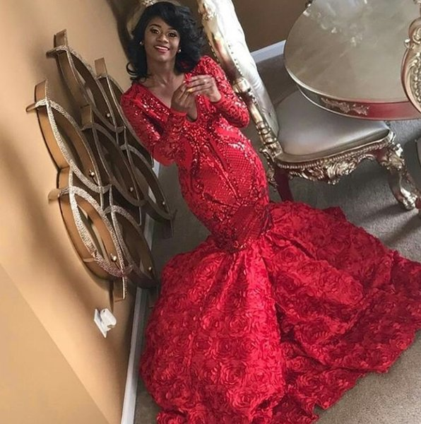 Red Mermaid Prom Dresses Full lace Plunging V Neck Floral Train Long Sleeves Formal Evening Party Dresses Gowns DP0074
