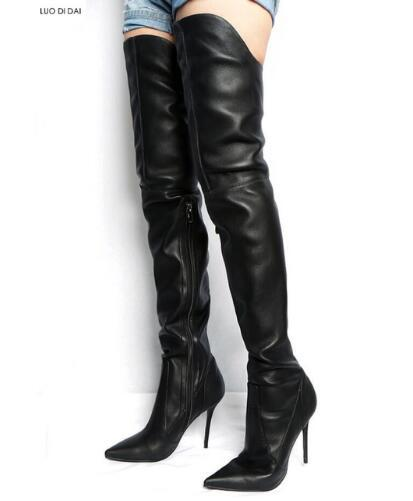 2019 winter women thigh high boots over knee booties black leather zip up boots ladies point toe long boots lace up party shoes