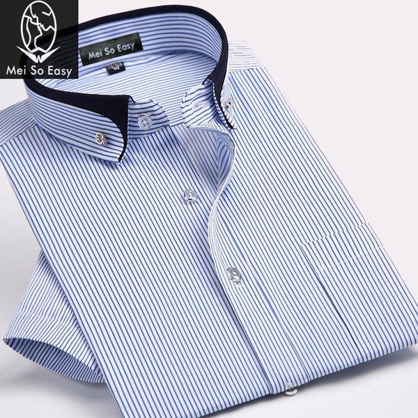 новый приход лета высокого Qualtiy формальный мужской короткий рукав легкий уход всего матча полоса рубашка дополнительный размер большой плюс M-6XL7XL8XL9XL