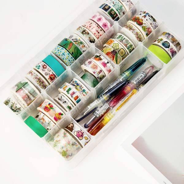 MIRUI 15 Compartments Clear Crafts Organizer Storage Box for Washi Tape Art Supplies and Sticker Stationery
