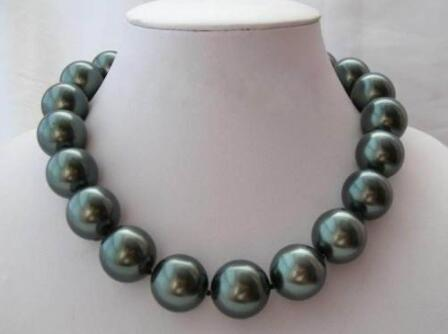 Schmuck Selten Riesige 20mm Südsee Black Shell Perlenkette