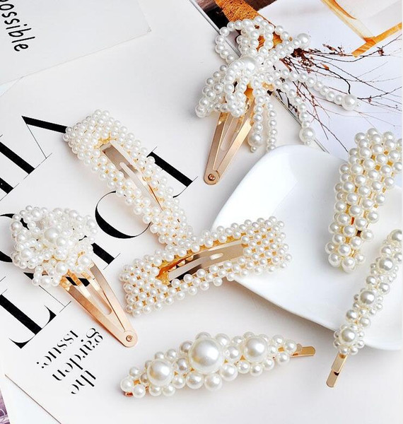 best selling 2019 New Limited Barrettes & Clips Women's Gift Alloy White No Fashion Women Girl Gold Silver Pearl Barrette Hairpin Hair Clip Accessories